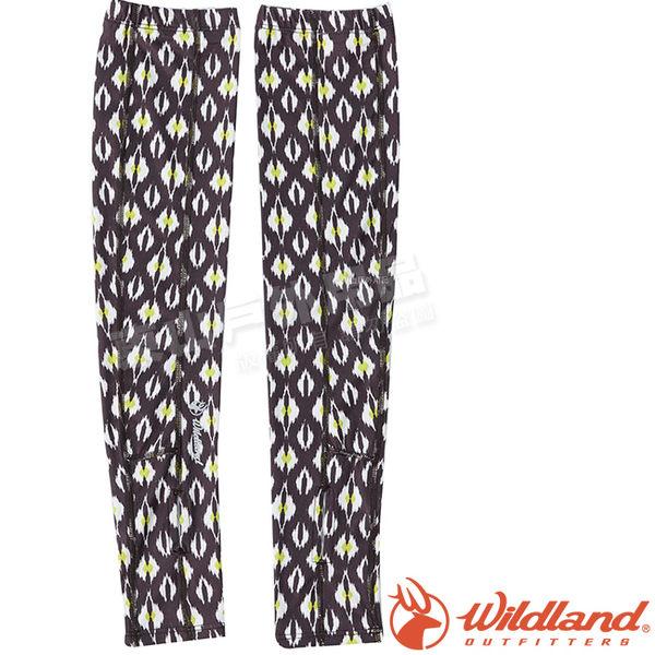 Wildland 荒野 W1809-85咖啡 中性印花開洞透氣袖套 抗UV遮陽手套/快乾機車手套/單車防曬袖套