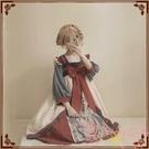 洛麗塔Lolita九尾op水墨國風蕾絲齊胸漢元素一體式連身裙【聚可愛】