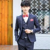 西裝套裝含西裝外套+西裝褲(三件套)-雙線條格子造型男西服3色73hc26【時尚巴黎】
