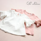 女童上衣 韓版甜美蕾絲喇叭袖短袖T恤 Q...