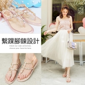 Ann'S女神許願池-冰鑽寶石繫踝腳鍊小坡跟夾腳涼鞋