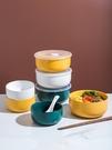 網紅陶瓷泡面碗帶蓋碗宿舍用學生單個湯碗便當飯盒碗家用碗筷套裝 果果輕時尚