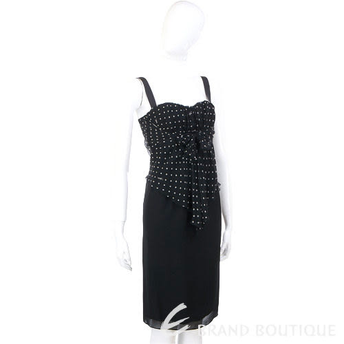 VALENTINO 點點拼接細肩帶洋裝(黑色) 0890009-01