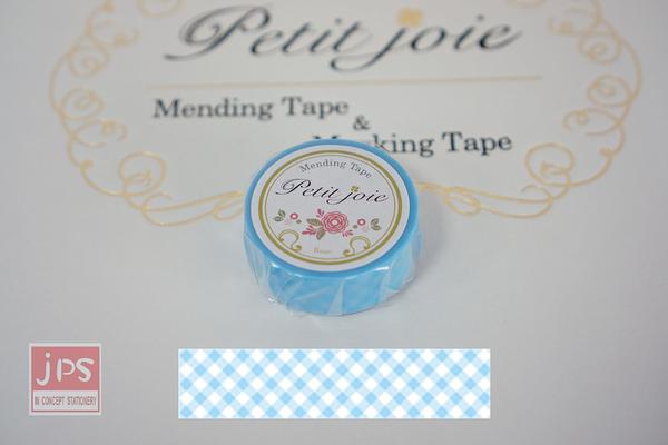 【NICHIBAN】 日絆 Petit Joie Mending Tape 花邊隱形膠帶 藍色格紋 (PJMD-15S008)