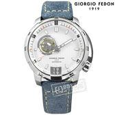 GIORGIO FEDON 1919 / GFAQ028 / 自動兼手動上鍊 藍寶石塗層玻璃 精工機芯 機械錶 真皮手錶 銀x灰藍 45mm