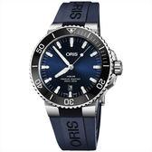 【超贈點5倍】Oris豪利時 Aquis 時間之海潛水300米日期機械錶-藍x藍色膠帶/43.5mm 0173377304135-0742465EB