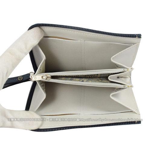 茱麗葉精品 二手名牌【9.9成新】法國Longchamp 經典LOGO皮革拉鍊零錢包.深藍