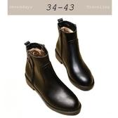 大尺碼女鞋小尺碼女鞋圓頭帥氣低跟粗跟平底靴女靴短靴馬丁靴機車靴黑色(34-43)現貨#七日旅行