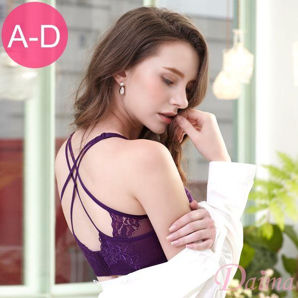 怦然心動(A-D)透肌鏤空蕾絲交叉美背兩穿W型鋼圈內衣_紫【Daima黛瑪】K007