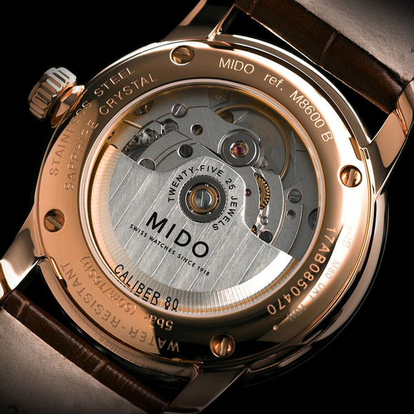 MIDO 美度 永恆系列午夜藍機械男錶-藍x咖啡錶帶/38mm M86003158