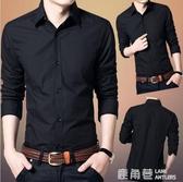 秋季男士長袖襯衫韓版修身黑色商務休閒職業正裝襯衣青年內搭寸衫『快速出貨』