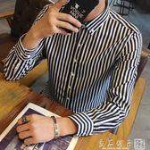 秋季男士長袖條紋襯衫修身寸衣青少年發型師韓版休閒襯衣學生潮男      良品鋪子