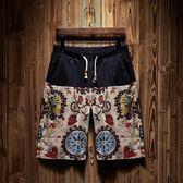 海灘褲寬鬆大碼民族風復古潮牌五分褲男沙灘褲