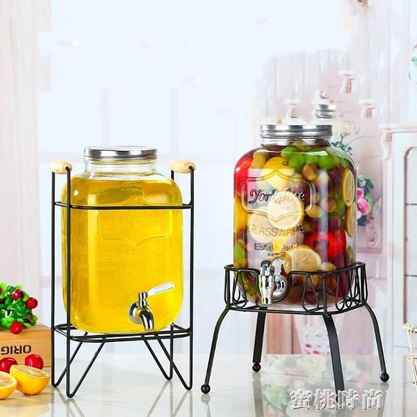 復古無鉛厚玻璃壺開關瓶果汁罐冷飲冷水壺大容量水龍頭自助飲料桶『蜜桃時尚』