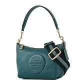 美國正品 COACH 皮革標荔枝紋寬背帶肩背/斜背二用包-藍綠色【現貨】