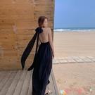 露背洋裝掛脖V領露背雪紡連身裙女夏季顯瘦沙灘裙海邊度假旅游超仙長裙子 愛丫 免運