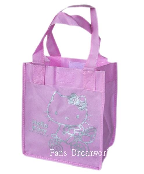 【卡漫城】 Hello Kitty 魔鬼氈 手提袋 粉 庫1 ㊣版 凱蒂貓 萬用袋 購物袋 便當袋 文具袋 收納袋