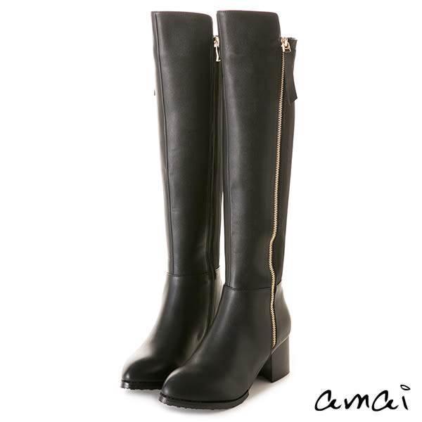 amai萊卡拼接側拉鏈過膝長靴 黑