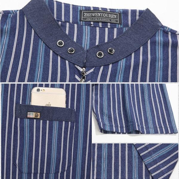 短袖 爸爸短袖t桖男夏季薄款中老年立領有口袋體恤 中年加大半袖打底衫
