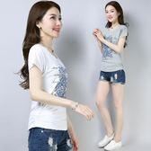t恤女洋裝短袖韓范百搭修身顯瘦白色上衣文藝純棉復古棉T