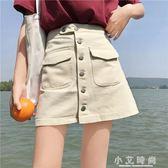 牛仔裙高腰港風復古chic裙子小單排扣牛仔半身裙女 小艾時尚