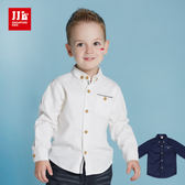 JJLKIDS 男童 簡約素面柔棉長袖襯衫(2色)