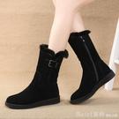 中筒靴 雪地靴女2020新款冬季平底棉靴...