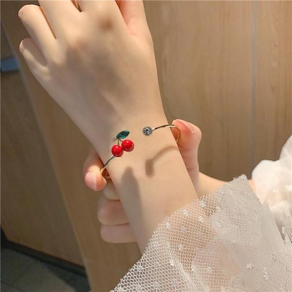 小清新簡約森繫時尚開口櫻桃細手鐲女日韓可愛學生手環鐲子 青山市集