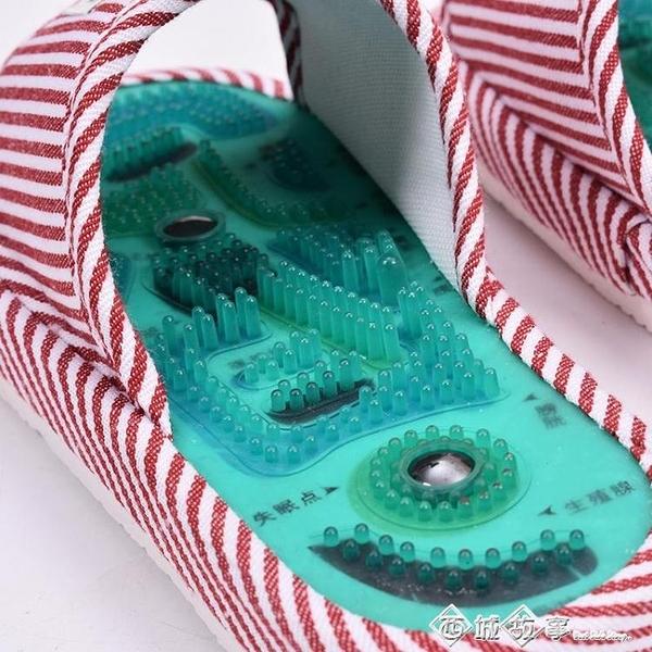 太極穴位足底腳底按摩鞋磁療拖鞋按摩棉拖鞋防滑室內男女 西城故事