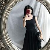 洋裝連衣裙2017女夏新款韓版高腰顯瘦氣質優雅大擺吊帶無袖黑色中長裙「輕時光」