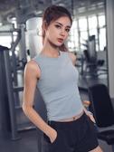 健身服女外穿性感緊身瑜伽短袖跑步t恤速干衣擼鐵背心夏運動上衣
