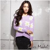 【名模衣櫃】俏麗小花造型針織衫FREE紫色  31693