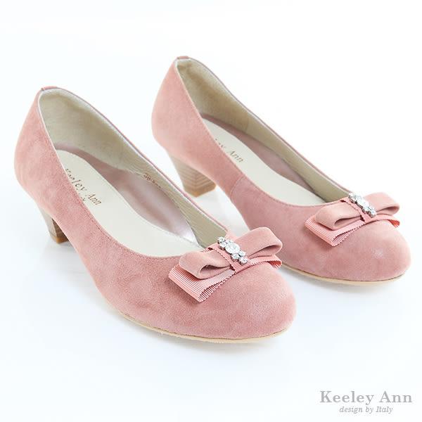★零碼出清★Keeley Ann 優雅別致 ~ 水鑽蝴蝶結全真皮低跟鞋(粉紅)