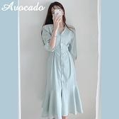 襯衫洋裝 chic氣質荷葉袖V領魚尾裙連衣裙女夏季單排扣收腰顯瘦長裙子 - 風尚3C