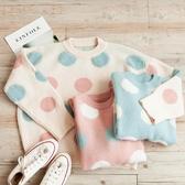 MUMU【T96273】粉嫩圓點縮口寬鬆針織毛衣。三色