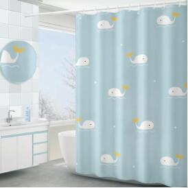 浴簾防水布套裝浴室免打孔衛生間窗簾防霉簾子掛簾洗澡門簾隔斷簾 NMS名購新品
