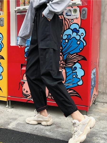 運動褲女秋冬寬鬆韓版學生ulzzang百搭怪味少女直筒束腳工裝褲bf