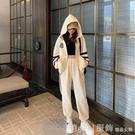套裝 衛衣套裝女春秋2020年新款條紋時尚洋氣外套大碼休閒褲運動兩件套 618購物節