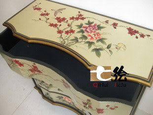 新古典漆器銀箔 手繪 四抽屜櫃