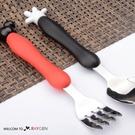 兒童餐具卡通造型不鏽鋼叉子+湯匙二件組