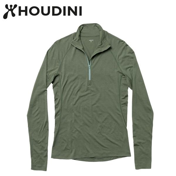 瑞典【Houdini】M`s Desoli Zip 男款美麗諾羊毛半拉式內層衣 烏托邦綠