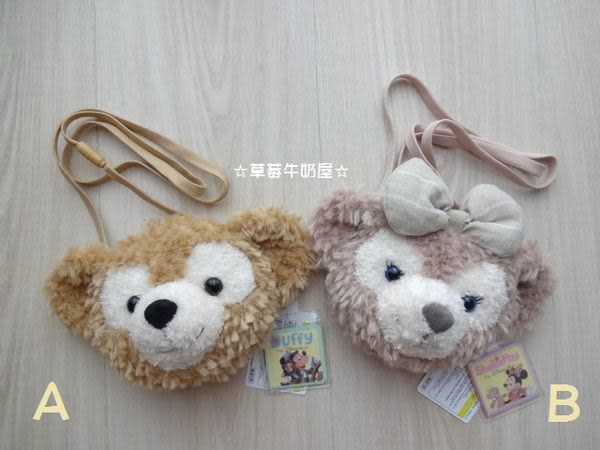 ☆草莓牛奶屋☆日本進口東京迪士尼【Disney Sea】達菲熊Duffy&ShellieMay可背式絨毛零錢包