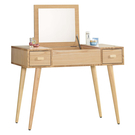 【森可家居】小日子掀鏡鏡台(不含椅) 9JX31-5 梳妝檯 化妝桌 木紋質感 無印北歐風