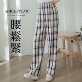 長褲 Space Picnic|格紋棉麻落地寬褲(現貨)【C20063002】