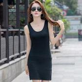 莫代爾吊帶背心女長款內搭夏季黑色棉緊身女式無袖打底外穿上衣1013ZLA00-G紅粉佳人
