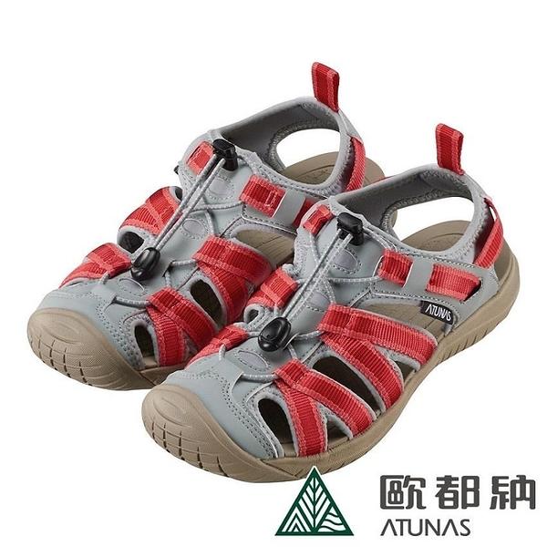 【南紡購物中心】【ATUNAS 歐都納】女款勇闖水陸減震護趾涼鞋(A1GCCC01酒紅)