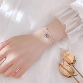 新品 魚尾藍色泡沫雙層手鍊銀簡約個性ins小眾設計清新學生手環韓版女
