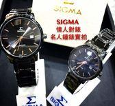 【名人鐘錶・實體店面】SIGMA 黑玫瑰金配色黑鋼對錶・耐磨藍寶石水晶鏡面・39mm×30mm・日期顯示
