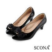SCONA 蘇格南 全真皮 典雅蝴蝶結舒適跟鞋 黑色 22806-1