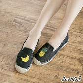 amai熱帶水果刺繡帆布休閒草編鞋 黑